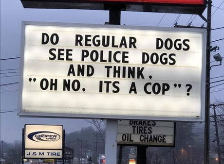 "funny sign that reads ""do regular dogs see police dogs and think oh no its a cop""?"