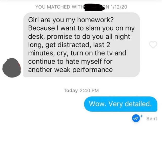 Text - YOU MATCHED WITH ON 1/12/20 Girl are you my homework? Because I want to slam you on my desk, promise to do you all night long, get distracted, last 2 minutes, cry, turn on the tv and continue to hate myself for another weak performance Today 2:40 PM Wow. Very detailed. Sent