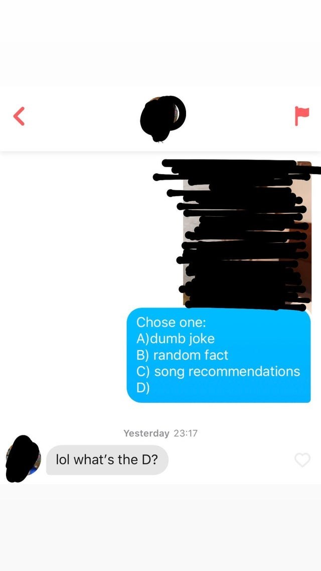 Text - Chose one: A)dumb joke B) random fact C) song recommendations D) Yesterday 23:17 lol what's the D?