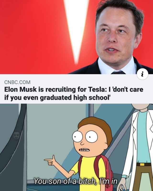 Cartoon - CNBC.COM Elon Musk is recruiting for Tesla: I'don't care if you even graduated high school' You son of a bitch, Im in