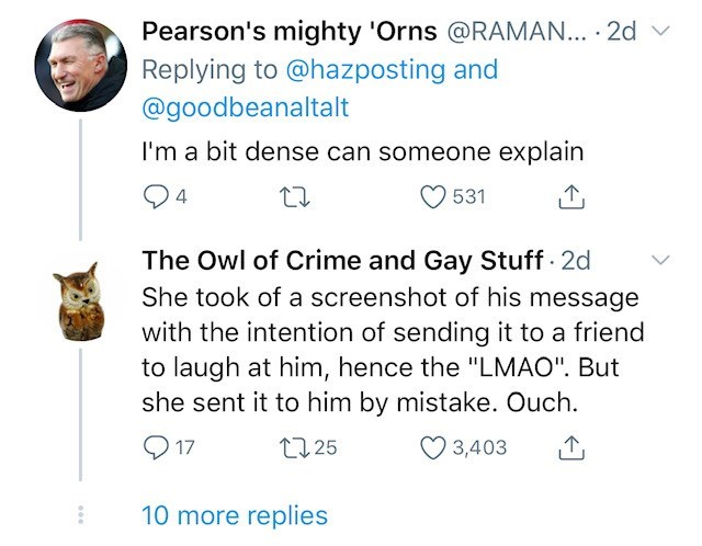 """Text - Pearson's mighty 'Orns @RAMAN... · 2d v Replying to @hazposting and @goodbeanaltalt I'm a bit dense can someone explain 531 4 The Owl of Crime and Gay Stuff - 2d She took of a screenshot of his message with the intention of sending it to a friend to laugh at him, hence the """"LMAO"""". But she sent it to him by mistake. Ouch. O 17 27 25 3,403 10 more replies"""