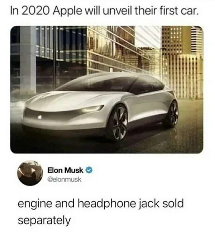Automotive design - In 2020 Apple will unveil their first car. Elon Musk @elonmusk engine and headphone jack sold separately