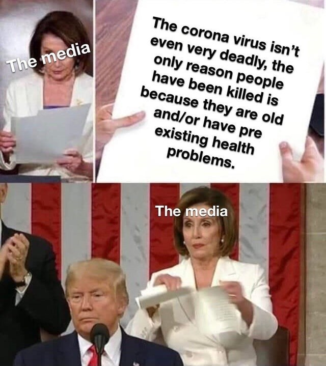 Facial expression - The corona virus isn't even very deadly, the only reason people have been killed is because they are old and/or have pre existing health problems. The media The media