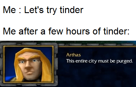Text - Me : Let's try tinder Me after a few hours of tinder: Arthas This entire city must be purged.