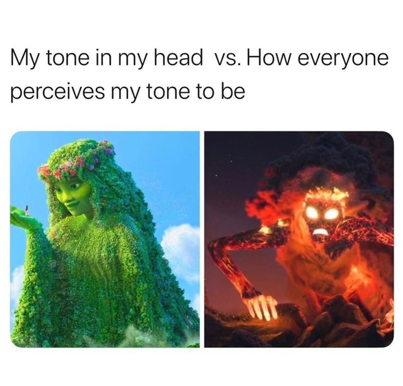 Funny meme about one's tone of voice sounding much nicer in their head than out loud to other people Moana goddess Te Fiti with a flower crown and in her evil form as a lava monster