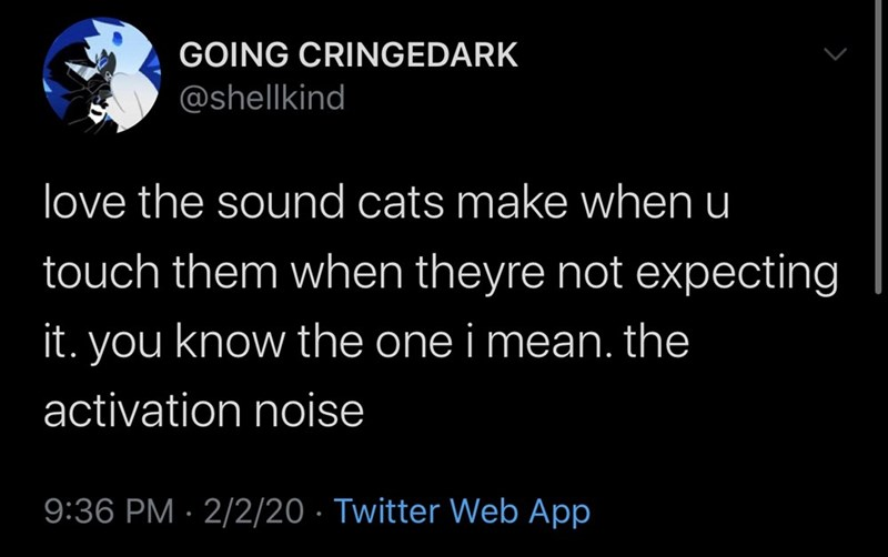 Text - GOING CRINGEDARK @shellkind love the sound cats make when u touch them when theyre not expecting it. you know the one i mean. the activation noise 9:36 PM · 2/2/20 · Twitter Web App