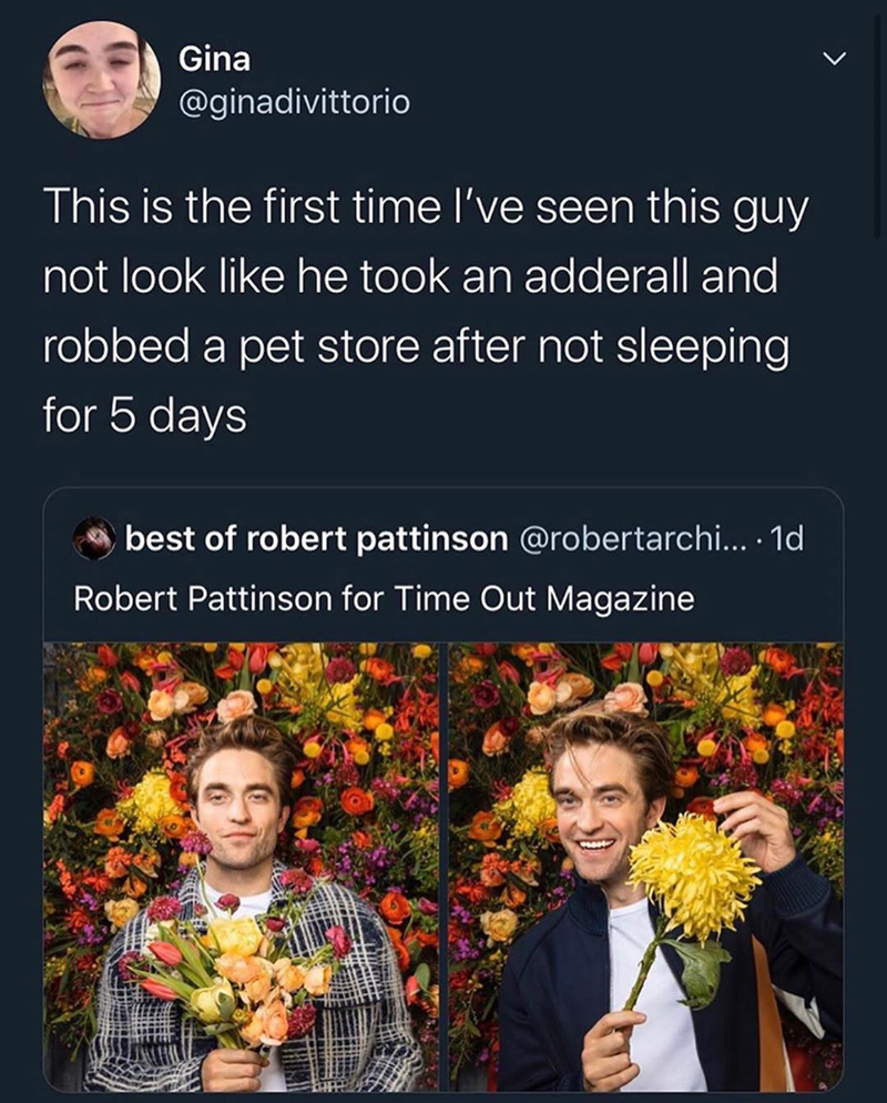 Funny memes, dank memes, robert pattinson, robert pattinson memes | this is the first time i've seen this guy not look like he took an adderall and robber a pet store after not sleeping for 5 days robert pattinson for time out magazine smiling with flowers