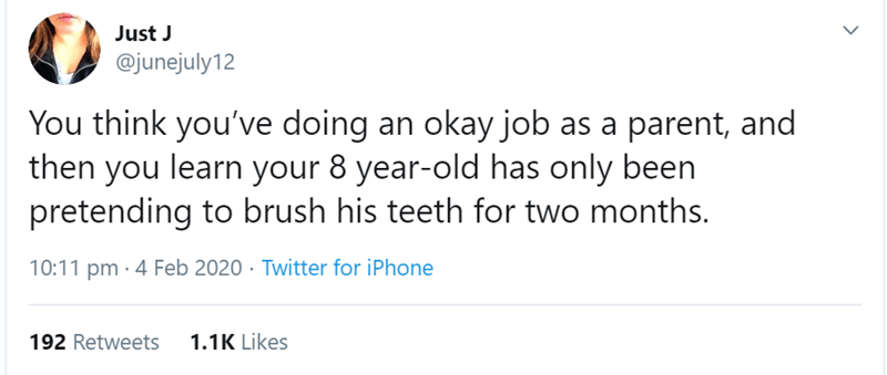 Text - Just J @junejuly12 You think you've doing an okay job as a parent, and then you learn your 8 year-old has only been pretending to brush his teeth for two months. 10:11 pm · 4 Feb 2020 · Twitter for iPhone 192 Retweets 1.1K Likes