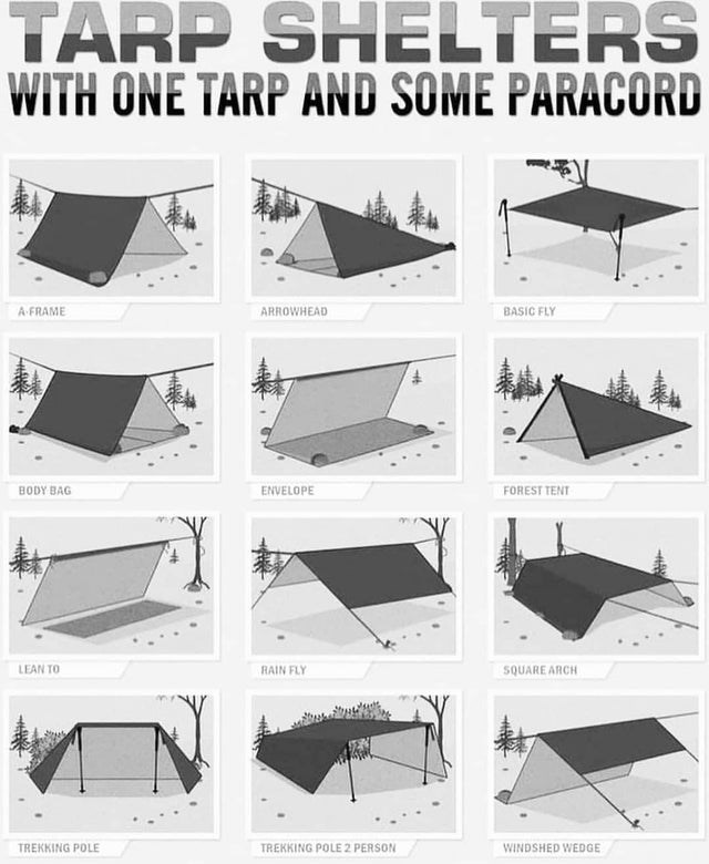 Furniture - TARP SHELTERS WITH ONE TARP AND SOME PARACORD BASIC FLY A FRAME ARROWHEAD BODY BAG ENVELOPE FOREST TENT LEAN TO RAIN FLY SQUARE ARCH TREKKING POLE 2 PERSON TREKKING POLE WINDSHED WEDGE