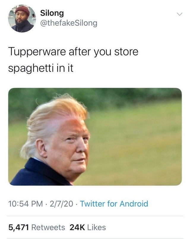 Text - Silong @thefakeSilong Tupperware after you store spaghetti in it 10:54 PM · 2/7/20 · Twitter for Android 5,471 Retweets 24K Likes