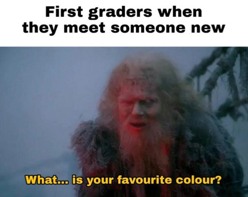 Photo caption - First graders when they meet someone new What... is your favourite colour?