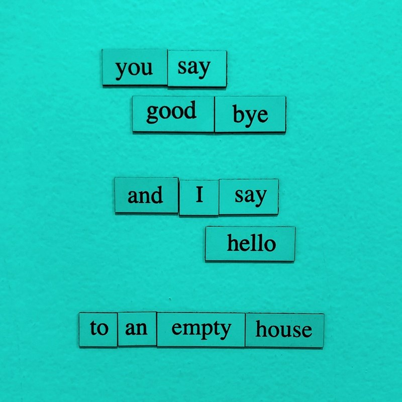 Text - you say good bye and say hello to an empty house