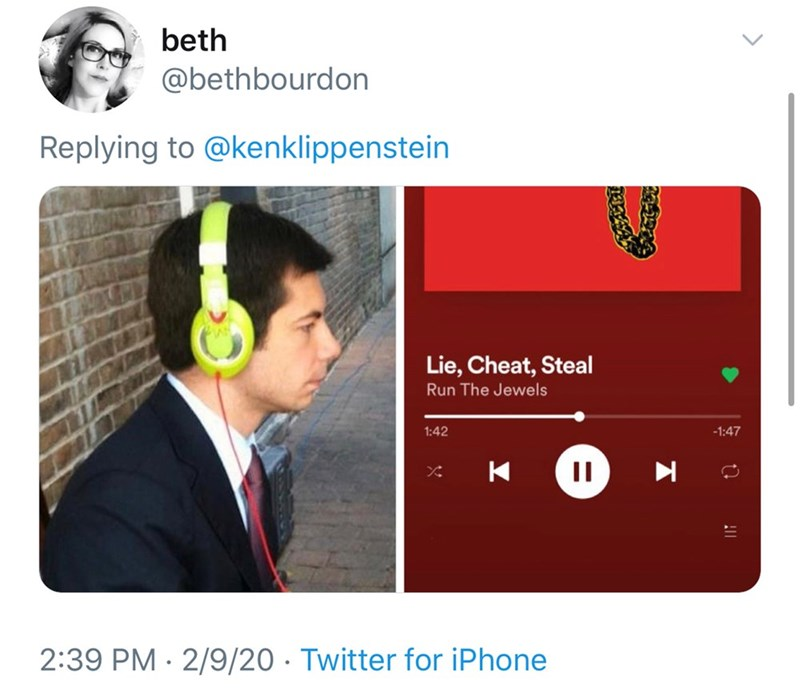 Text - beth @bethbourdon Replying to @kenklippenstein Lie, Cheat, Steal Run The Jewels 1:42 -1:47 2:39 PM · 2/9/20 · Twitter for iPhone