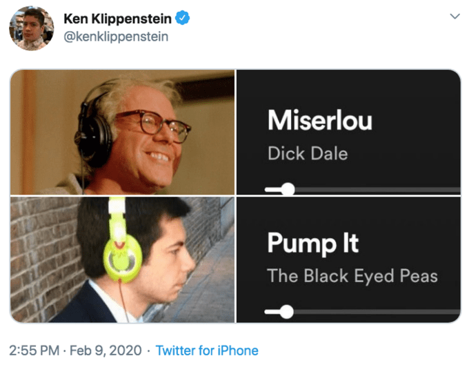 Text - Ken Klippenstein @kenklippenstein Miserlou Dick Dale Pump It The Black Eyed Peas 2:55 PM · Feb 9, 2020 · Twitter for iPhone