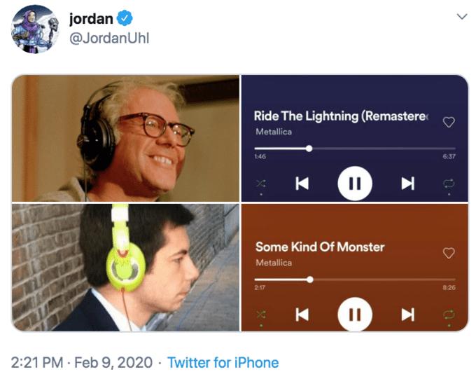 Text - jordan @JordanUhl Ride The Lightning (Remastere Metallica 6:37 1:46 Some Kind Of Monster Metallica 826 2:17 II 2:21 PM · Feb 9, 2020 · Twitter for iPhone