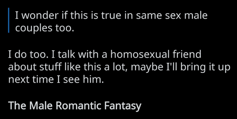 Text - I wonder if this is true in same sex male couples too. I do too. I talk with a homosexual friend about stuff like this a lot, maybe I'll bring it up next time I see him. The Male Romantic Fantasy