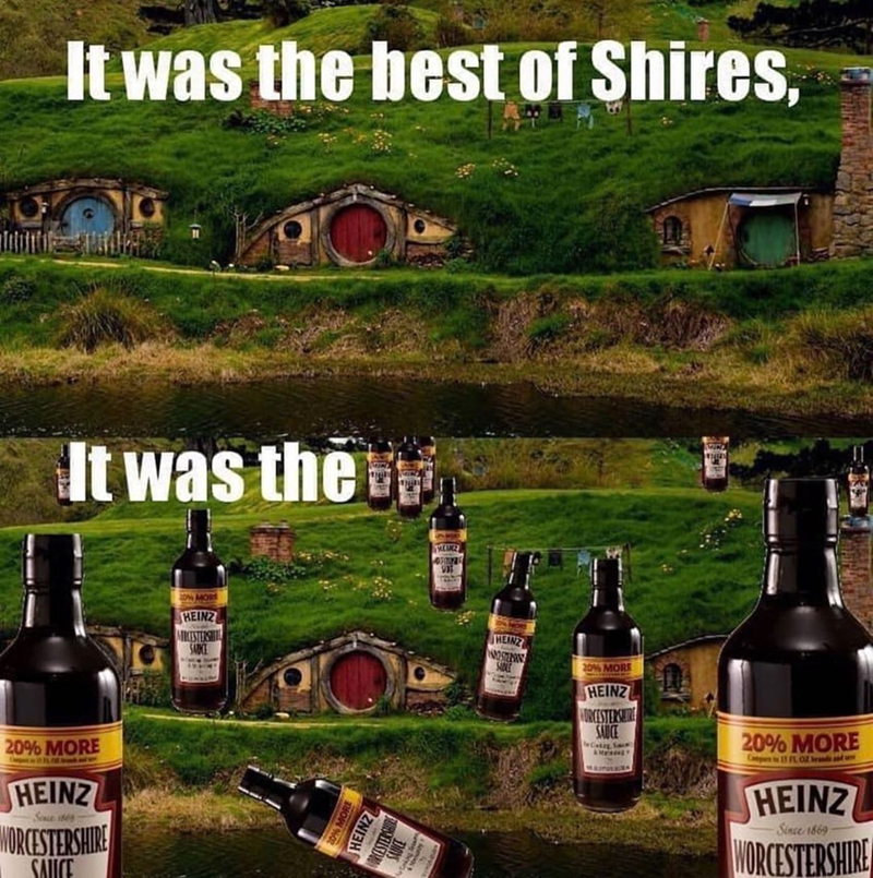 Funny meme about the best of shires, the worcestershire sauce, pun memes, dad jokes, lord of the rings the shire hobbits