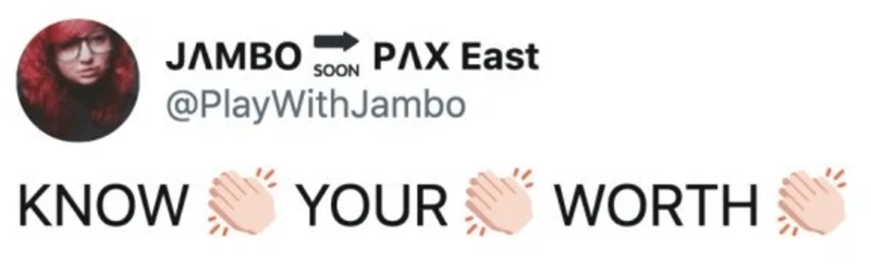 Text - JAMBO РЛХ East SOON @PlayWithJambo KNOW YOUR WORTH
