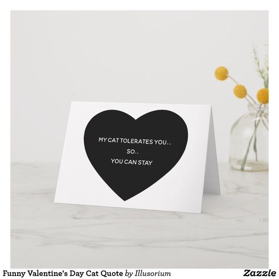 Heart - MY CAT TOLERATES YOU.. So.. YOU CAN STAY Zazzle Funny Valentine's Day Cat Quote by Illusorium