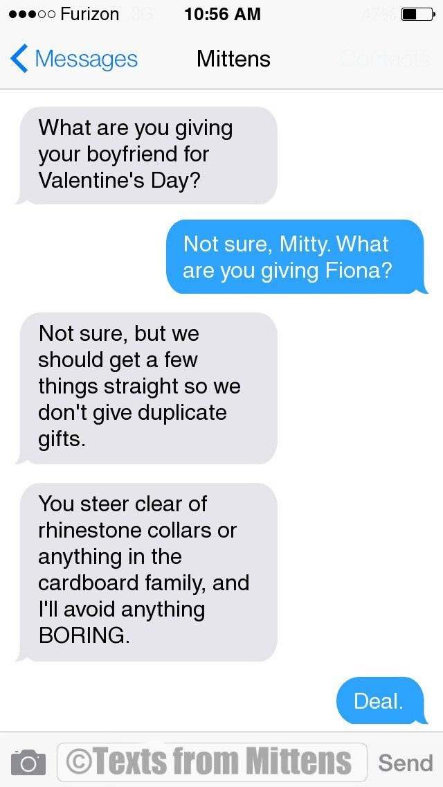 Text - 00000 Furizon 10:56 AM ( Messages Mittens What are you giving your boyfriend for Valentine's Day? Not sure, Mitty. What are you giving Fiona? Not sure, but we should get a few things straight so we don't give duplicate gifts. You steer clear of rhinestone collars or anything in the cardboard family, and 'll avoid anything BORING. Deal. ©Texts from Mittens Send