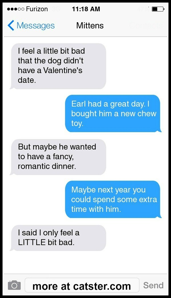 Text - 00000 Furizon 11:18 AM ( Messages Mittens I feel a little bit bad that the dog didn't have a Valentine's date. Earl had a great day. I bought him a new chew toy. But maybe he wanted to have a fancy, romantic dinner. Maybe next year you could spend some extra time with him. I said I only feel a LITTLE bit bad. Send more at catster.com