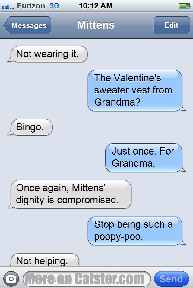 Text - 10:12 AM l Furizon 3G Mittens Edit Messages Not wearing it. The Valentine's sweater vest from Grandma? Bingo. Just once. For Grandma. Once again, Mittens' dignity is compromised. Stop being such a poopy-poo. Not helping. O More an Catster.com Send