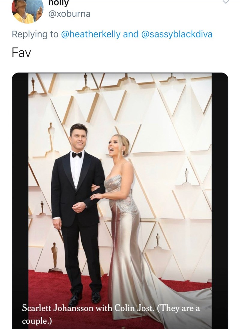 Photograph - nolly @xoburna Replying to @heatherkelly and @sassyblackdiva Fav Scarlett Johansson with Colin Jost. (They are a couple.)