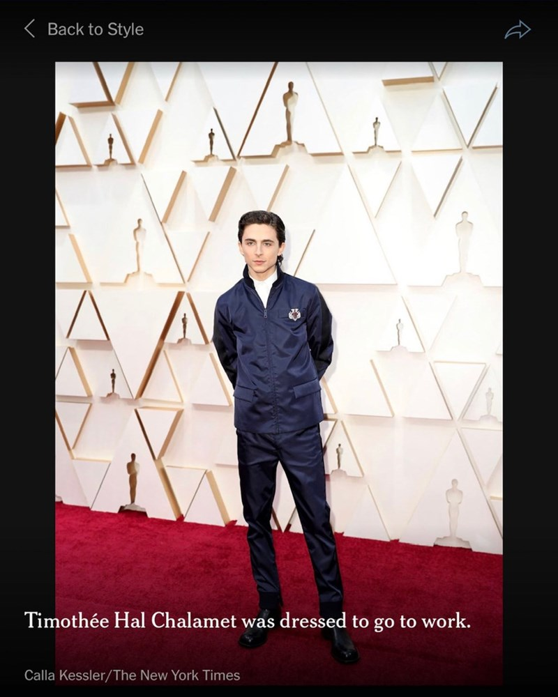 Red carpet - K Back to Style Timothée Hal Chalamet was dressed to go to work. Calla Kessler/The New York Times