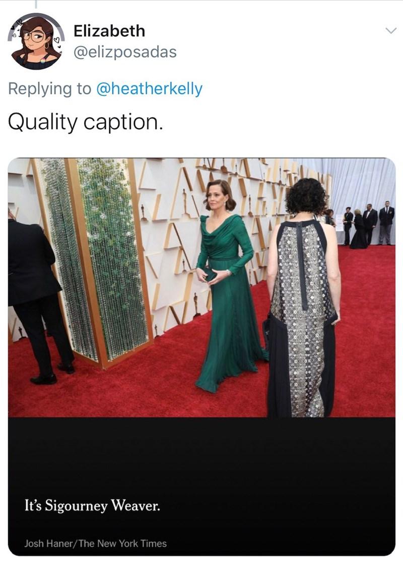 Clothing - Elizabeth @elizposadas Replying to @heatherkelly Quality caption. It's Sigourney Weaver. Josh Haner/The New York Times