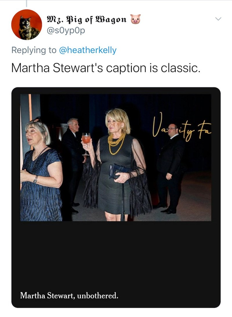 Text - Mz. Pig of Wagon @s0yp0p Replying to @heatherkelly Martha Stewart's caption is classic. Martha Stewart, unbothered.