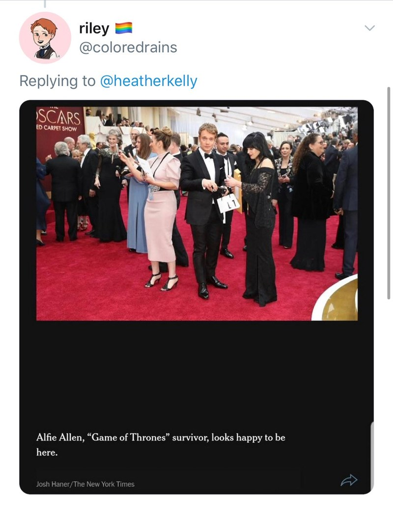 """Red - riley a @coloredrains Replying to @heatherkelly SCARS ED CARPET SHOW L1 Alfie Allen, """"Game of Thrones"""" survivor, looks happy to be here. Josh Haner/The New York Times"""