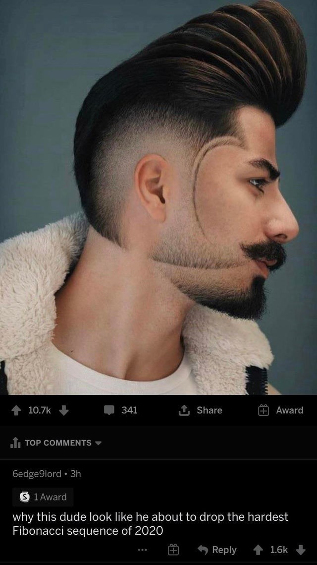 Hair - 1, Share 10.7k 341 Award I TOP COMMENTS - 6edge9lord • 3h S 1 Award why this dude look like he about to drop the hardest Fibonacci sequence of 2020 Reply 1.6k ...