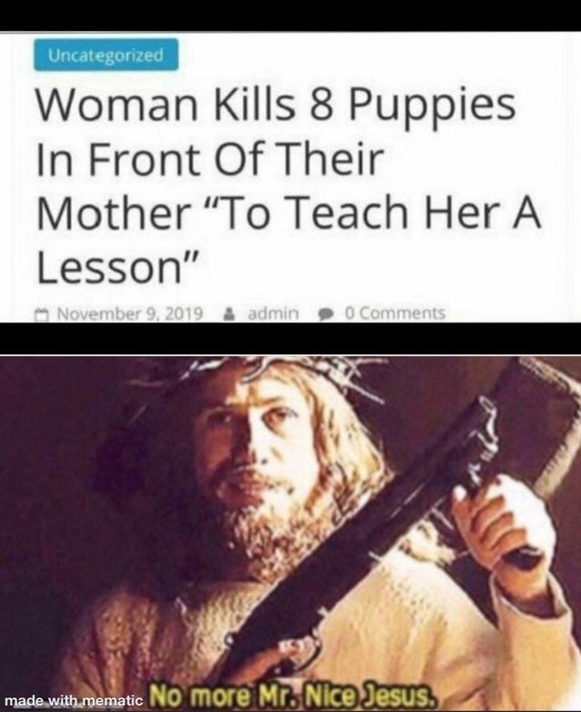 "Musical instrument - Uncategorized Woman Kills 8 Puppies In Front Of Their Mother ""To Teach Her A Lesson"" o Comments ONovember 9, 2019 & admin made with mematic No more Mr. Nice Jesus."