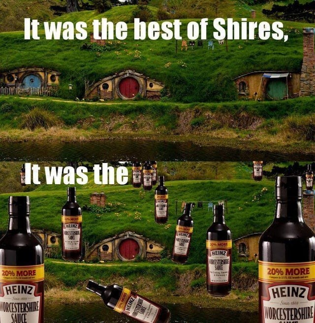Liqueur - It was the best of Shires, It was the ENTRA MORS HEINZ ROSTER SARKE WEANZ 20% MORS HEINZ NCESTERS SAUCE 20% MORE 20% MORE HEINZ WORCESTERSHIRE SAUCE HEINZ WORCESTERSHIRE Sinie86 Since-1869 HEINZ