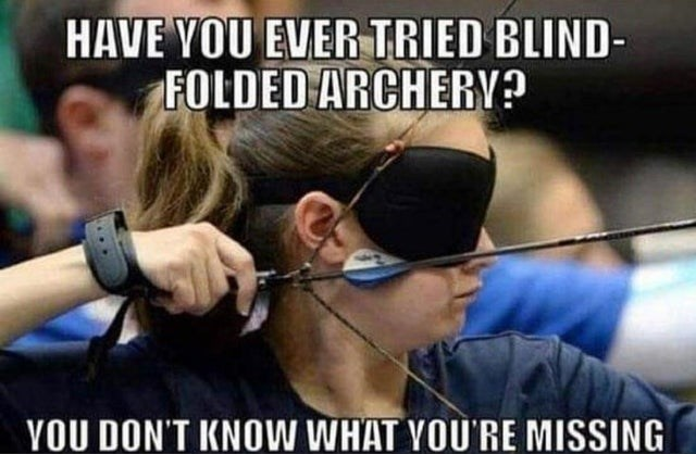 Archery - HAVE YOU EVER TRIED BLIND- FOLDED ARCHERV? YOU DON'T KNOW WHAT YOU'RE MISSING