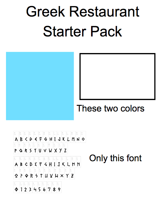 Text - Greek Restaurant Starter Pack These two colors AB<D € F ¢HIJKLMNO PQRSTU V W XY Z Only this font ABCDEF4 HIJKLM N O ? OR STU v W × Y Z 1234567 8 9 O
