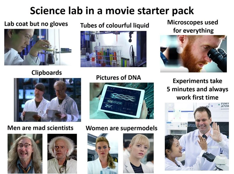 Product - Science lab in a movie starter pack Microscopes used for everything Lab coat but no gloves Tubes of colourful liquid Clipboards Pictures of DNA Experiments take 5 minutes and always work first time TORY ATOR Women are supermodels Men are mad scientists