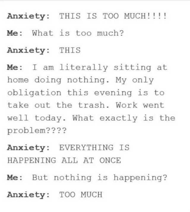 Text - Anxiety: THIS IS TOO MUCH!!!! Me: What is too much? Anxiety: THIS I am literally sitting at home doing nothing. My only Me: obligation this evening is to take out the trash. Work went well today. What exactly is the problem???? Anxiety: EVERYTHING IS HAPPENING ALL AT ONCE But nothing is happening? Me: Anxiety: TOO MUCH