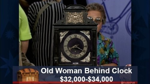 Photography - Old Woman Behind Clock $32,000-$34,000 AR KealenPatti