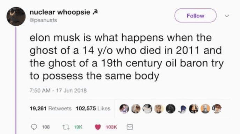 Text - nuclear whoopsie 2 @peanusts Follow elon musk is what happens when the ghost of a 14 y/o who died in 2011 and the ghost of a 19th century oil baron try to possess the same body 7:50 AM 17 Jun 2018 19,261 Retweets 102,575 Likes 17 19K 108 103K