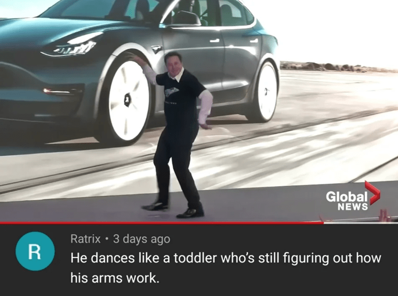 Motor vehicle - Global NEWS Ratrix • 3 days ago He dances like a toddler who's still figuring out how his arms work.