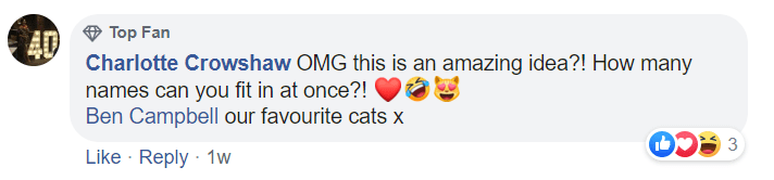 Text - Top Fan AD Charlotte Crowshaw OMG this is an amazing idea?! How many names can you fit in at once?! Ben Campbell our favourite cats x Like · Reply · 1w 3