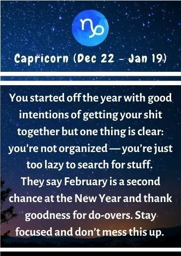 Text - Capricorn (Dec 22 - Jan 19) You started off the year with good intentions of getting your shit together but one thing is clear: you're not organized-you're just too lazy to search for stuff. They say February is a second chance at the New Year and thank goodness for do-overs. Stay focused and don't mess this up.