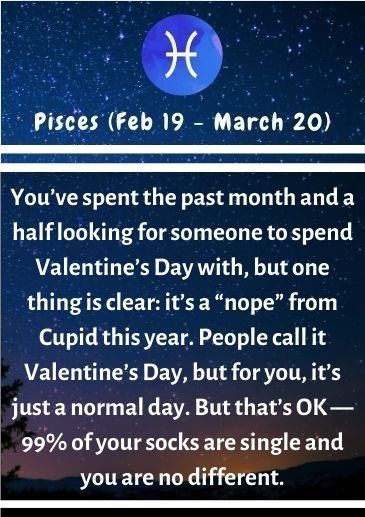 """Text - Pisces (Feb 19 - March 20) You've spent the past month and a half looking for someone to spend Valentine's Day with, but one thing is clear: it's a """"nope"""" from Cupid this year. People call it Valentine's Day, but for you, it's just a normal day. But that's OK- 99% of your socks are single and you are no different."""