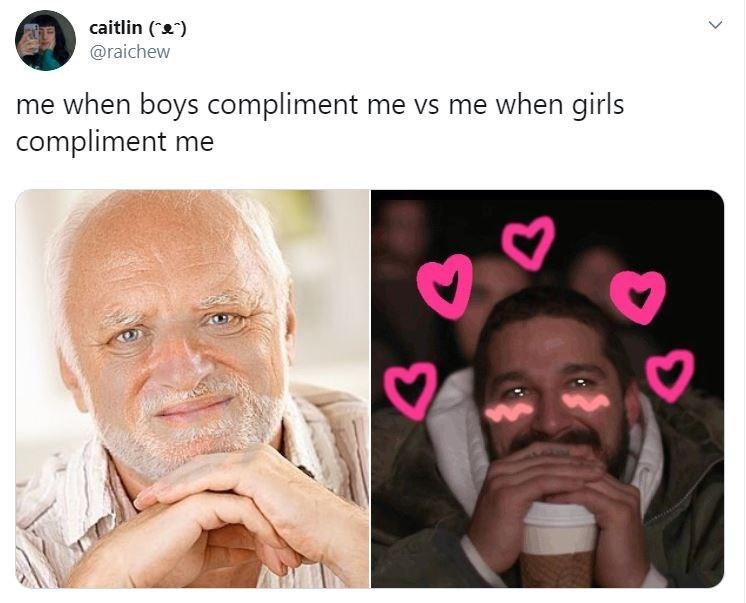 "Text - Face - caitlin ("""") @raichew me when boys compliment me vs me when girls compliment me"