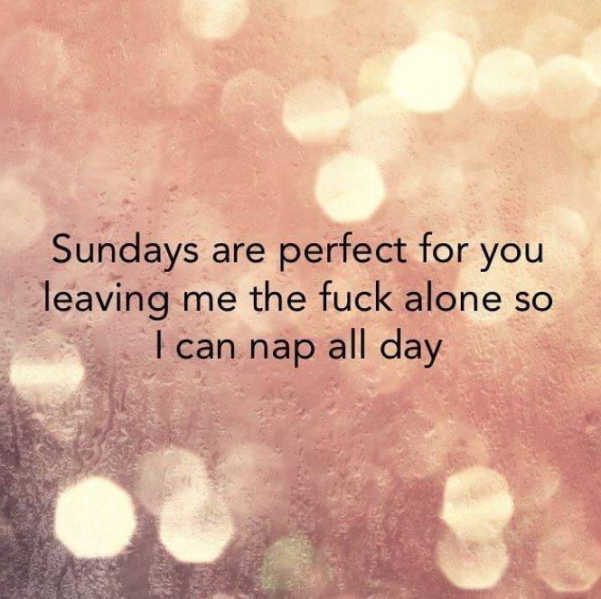 Text - Sundays are perfect for you leaving me the fuck alone so I can nap all day