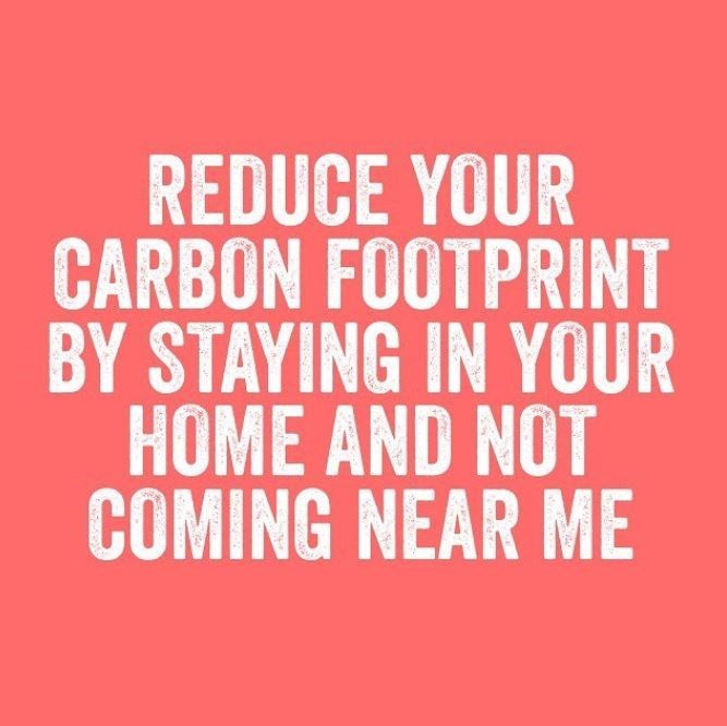 Text - REDUCE YOUR CARBON FOOTPRINT BY STAYING IN YOUR HOME AND NOT COMING NEAR ME
