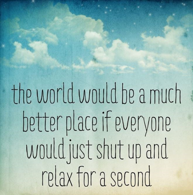 Text - the world would be a much better place if everyone would just shut up and relax for a second