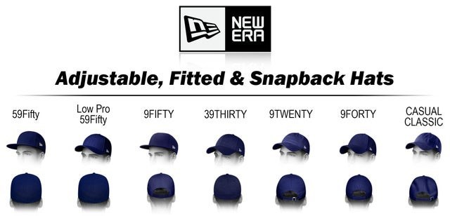 Cap - NEW ERA Adjustable, Fitted & Snapback Hats Low Pro 59Fifty CASUAL ČLASSIC 59Fifty 9FIFTY 9TWENTY 9FORTY 39THIRTY