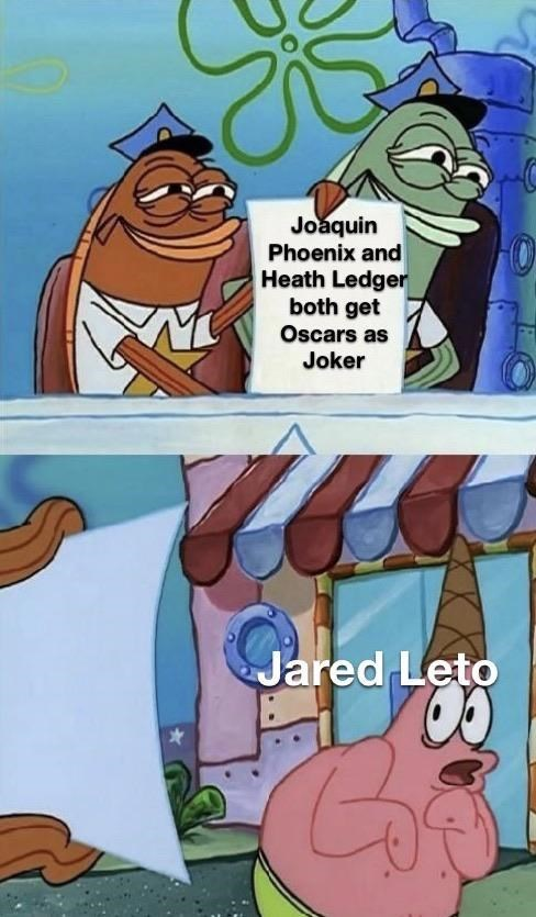 Cartoon - Joaquin Phoenix and Heath Ledger both get Oscars as Joker Jared Leto